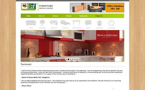 Screenshot of Testimonials Page leaffurniture.in - .:: Leaf Furniture ::. - captured Oct. 3, 2014