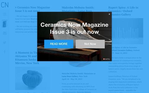Screenshot of Home Page ceramicsnow.org - Ceramics Now – Contemporary Ceramics Magazine - captured May 15, 2017