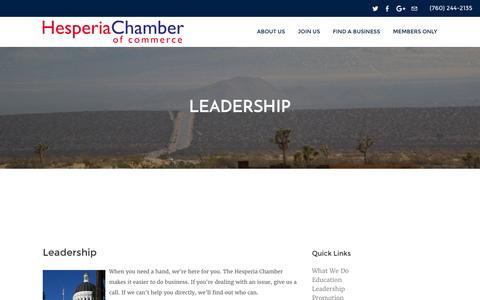 Screenshot of Team Page hesperiacc.com - Leadership - Hesperia Chamber of Commerce | Hesperia, CA  92345 - captured March 14, 2016