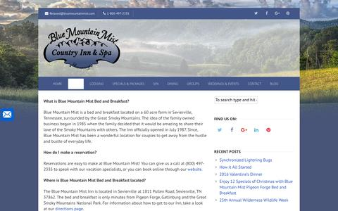 Screenshot of FAQ Page bluemountainmist.com - Frequently Asked Questions - Blue Mountain Mist Inn & Spa - captured Nov. 22, 2016