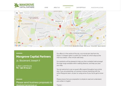 Screenshot of Contact Page mangrove.vc - Mangrove Capital Partners| Contact - captured Nov. 19, 2016
