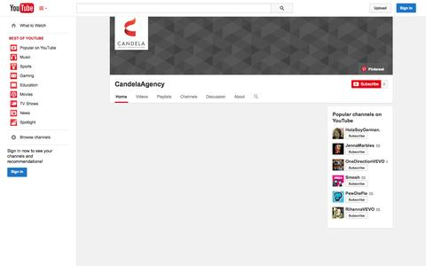 Screenshot of YouTube Page youtube.com - CandelaAgency  - YouTube - captured Oct. 22, 2014