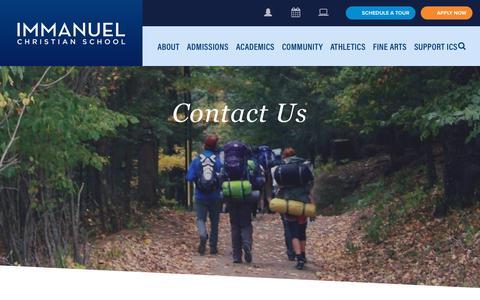 Screenshot of Contact Page icsva.org - Contact Us - Immanuel Christian SchoolImmanuel Christian School - captured Oct. 11, 2018