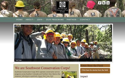 Screenshot of Home Page sccorps.org - Home - Southwest Conservation Corps - captured Oct. 7, 2014