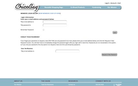 Screenshot of Login Page chicobag.com - ChicoBag | Compact Reusable Bags and Packs - captured Sept. 22, 2014