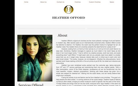 Screenshot of About Page heatherofford.com - Designer Bags - Painted Handbag, Painted Purse, Painted Clutch By Heather offord : Other - captured Jan. 28, 2016