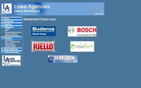 Screenshot of Products Page loweagencies.ca - Lowe Agencies Sales & Marketing Inc. Products - captured Oct. 3, 2014