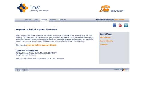 Screenshot of Support Page ims.net - IMS | Support - captured Nov. 2, 2014