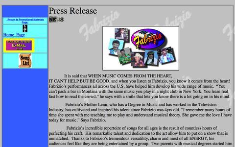 Screenshot of Press Page fabriziomusic.com - David Fabrizio Press Releases - captured Oct. 5, 2014