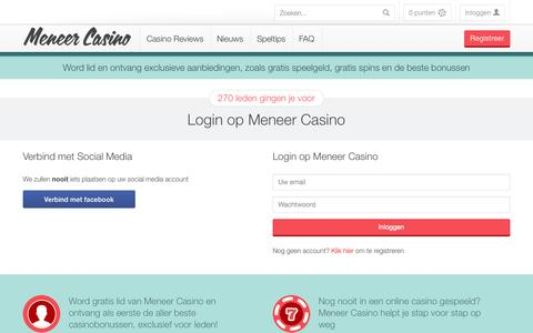 Screenshot of Login Page meneercasino.com - Welkom bij Meneer Casino - captured Oct. 29, 2014