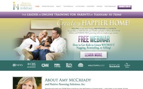 Screenshot of Home Page positiveparentingsolutions.com - Positive Parenting Solutions - captured Aug. 5, 2015