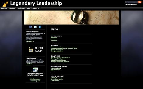 Screenshot of Site Map Page legendary-leadership.com - Legendary Leadership Site Map - captured July 13, 2016