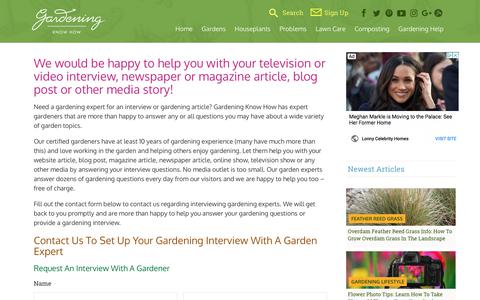 Screenshot of Press Page gardeningknowhow.com - Media Inquiries For Gardening Experts And Gardener InterviewsGardening Know How - captured May 21, 2018