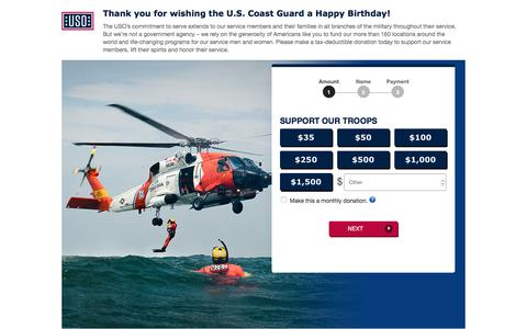 Screenshot of Landing Page uso.org - Donate | USO.org - captured Sept. 28, 2017