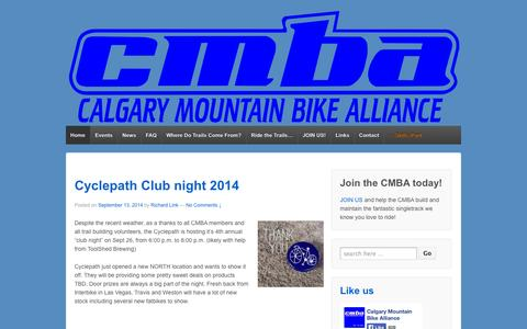 Screenshot of Home Page cmbalink.com - CMBA - Calgary Mountain Bike Alliance | Ride It Like You Built It! - captured Oct. 1, 2014