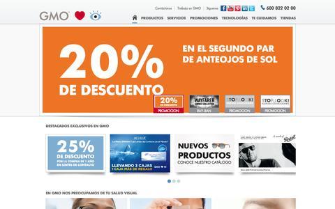 Screenshot of Home Page gmo.cl - Especialistas en anteojos y cristales - captured Oct. 8, 2014