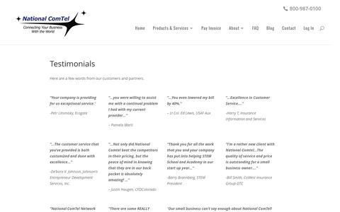 Screenshot of Testimonials Page telecommunicationsdenver.com - Testimonials - National ComTel - captured Dec. 3, 2016