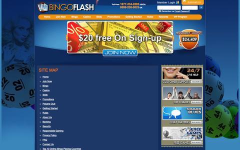 Screenshot of Site Map Page bingoflash.com - Sitemap - captured Sept. 30, 2014