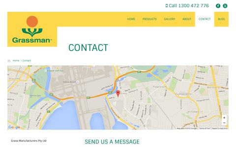Screenshot of Contact Page grassman.com.au - Contact Us For Synthetic Turf, Grass and Other Details - captured Feb. 1, 2016