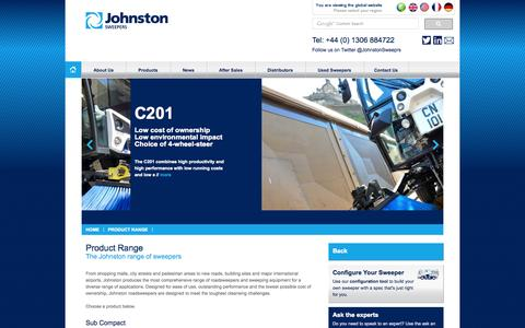 Screenshot of Products Page johnstonsweepers.com - Product Range : Johnston Sweepers - captured Oct. 6, 2014