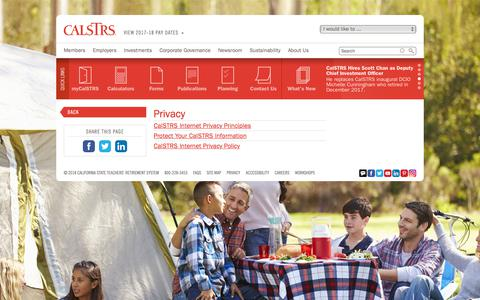 Screenshot of Privacy Page calstrs.com - Privacy - CalSTRS.com - captured July 15, 2018