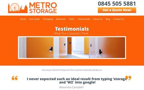 Screenshot of Testimonials Page metro-storage.co.uk - Testimonials and Reviews for Metro Storage in London - captured Oct. 27, 2014