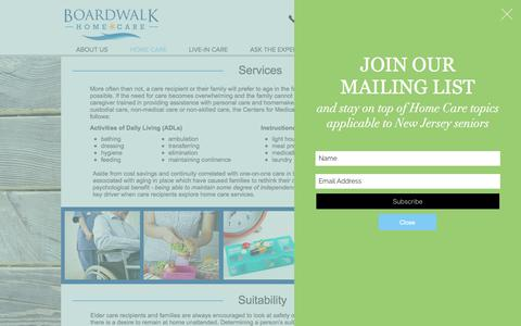 Screenshot of Services Page boardwalkhomecare.com - Boardwalk Homecare   Home Care Services - captured Oct. 10, 2017