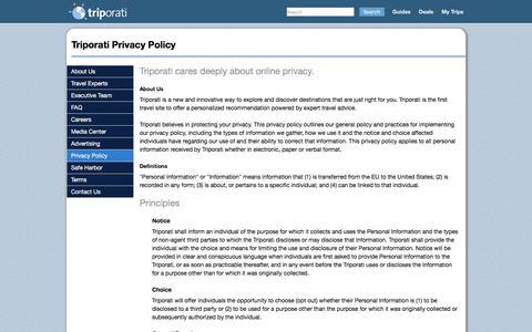 Screenshot of Privacy Page triporati.com - Triporati Privacy Policy - Triporati - captured June 22, 2017