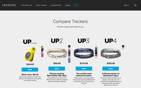 Screenshot of Home Page jawbone.com - Jawbone | UP Fitness Trackers | JAMBOX Speakers | ERA Bluetooth Headset - captured Oct. 24, 2015
