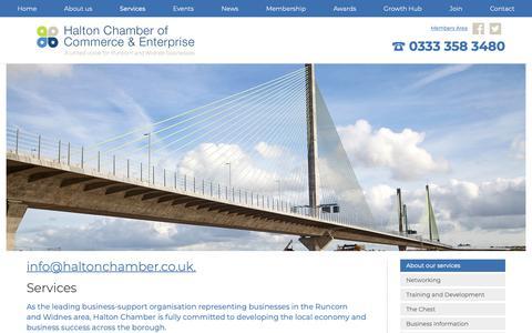 Screenshot of Services Page haltonchamber.co.uk - Services | Halton Chamber of Commerce & Enterprise - captured Sept. 26, 2018