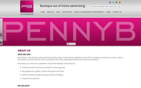 Screenshot of About Page pennyblack.co.za - About Us   Penny Black Outdoor   Large Format Billboards   Outdoor Advertising - captured Sept. 27, 2018