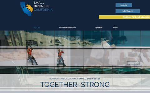 Screenshot of Home Page smallbusinesscalifornia.org - Small Business California home - captured Feb. 27, 2018