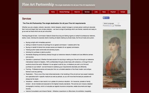 Screenshot of Services Page fineartpartnership.com - Services - captured Oct. 26, 2014