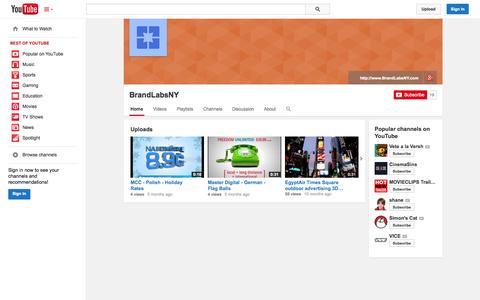 Screenshot of YouTube Page youtube.com - BrandLabsNY  - YouTube - captured Oct. 23, 2014