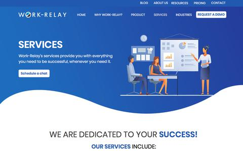 Screenshot of Services Page work-relay.com - SERVICES | Work Relay - captured Sept. 20, 2019