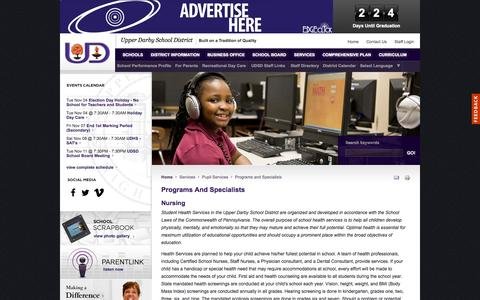 Screenshot of Services Page upperdarbysd.org - Programs And Specialists :: Upper Darby School District - captured Nov. 3, 2014