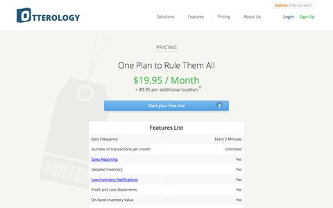 Screenshot of Pricing Page otterology.com - Pricing :: Otterology Inventory Management - captured Sept. 17, 2014