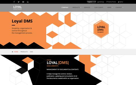 Screenshot of Products Page loyal-solutions.com - Document Mangemen System - DMS. Loyal Solutions - captured Oct. 1, 2018