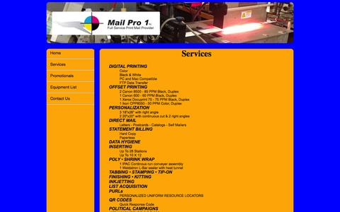 Screenshot of Services Page mailpro1.com - Mail Pro 1 - captured Sept. 30, 2014