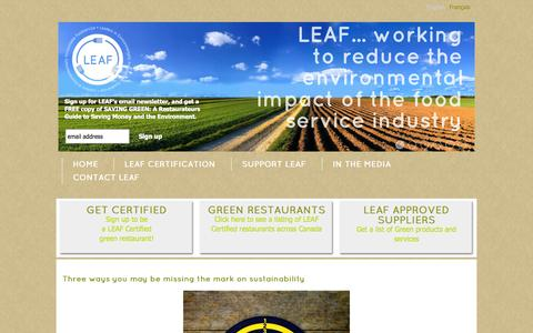 Screenshot of Blog leafme.ca - Blog :: LEAF   Leaders in Environmentally Accountable Foodservice - captured Oct. 2, 2014