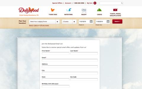 Screenshot of Signup Page dollywood.com - Dollywood | Sign Up for Email - captured Nov. 26, 2015