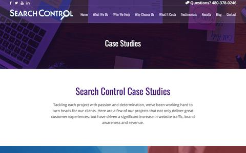 Screenshot of Case Studies Page searchcontrol.com - Proof Online Marketing Works: Case Studies - Search Control - captured June 16, 2017