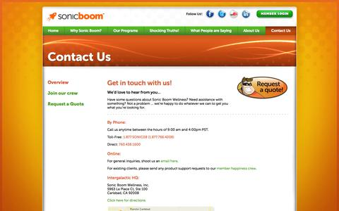 Sonic Boom Wellness Corporate Contact Information