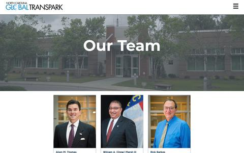 Screenshot of Team Page ncgtp.com - North Carolina Global TransPark: Our Team - captured Nov. 16, 2018