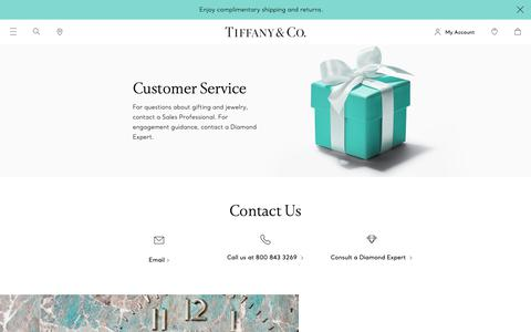 Screenshot of Contact Page Support Page tiffany.com - Customer Service | Tiffany & Co. - captured March 21, 2019