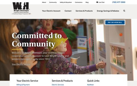 Screenshot of Home Page Menu Page whe.org - Wright-Hennepin Cooperative Electric Association - captured Sept. 22, 2018