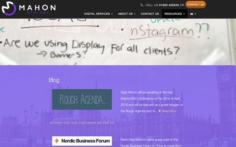 Screenshot of Blog mahondigital.co.uk - Search marketing blog - SEO & PPC articles, advice & news   Mahon Digital - captured Feb. 4, 2016