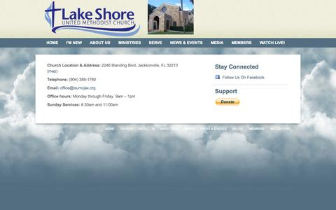 Screenshot of Contact Page lsumcjax.org - Contact Us - Lake Shore Methodist Church - Jacksonville, FL - captured Oct. 2, 2014