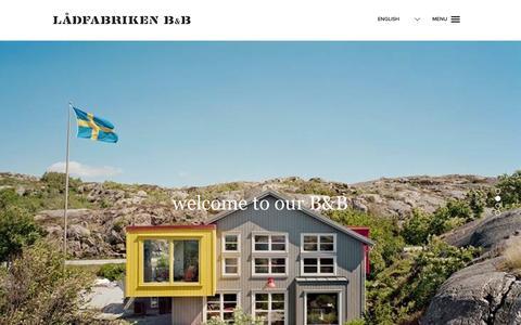 Screenshot of Home Page ladfabriken.eu - Lådfabriken B&B - captured Oct. 1, 2014