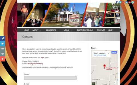 Screenshot of Contact Page vifonline.org - Contact | Victory International Fellowship - captured Oct. 26, 2014